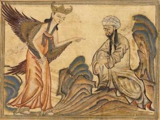 Muhammad reçoit la révélation de l'ange Gabriel.